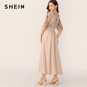 Image 2 - فستان نسائي من SHEIN بتصميم متباين مع رقبة على شكل v وأكمام شبكية مُزين بالترتر موضة 2019 بمشمش للربيع والصيف براقة وخصر عالي