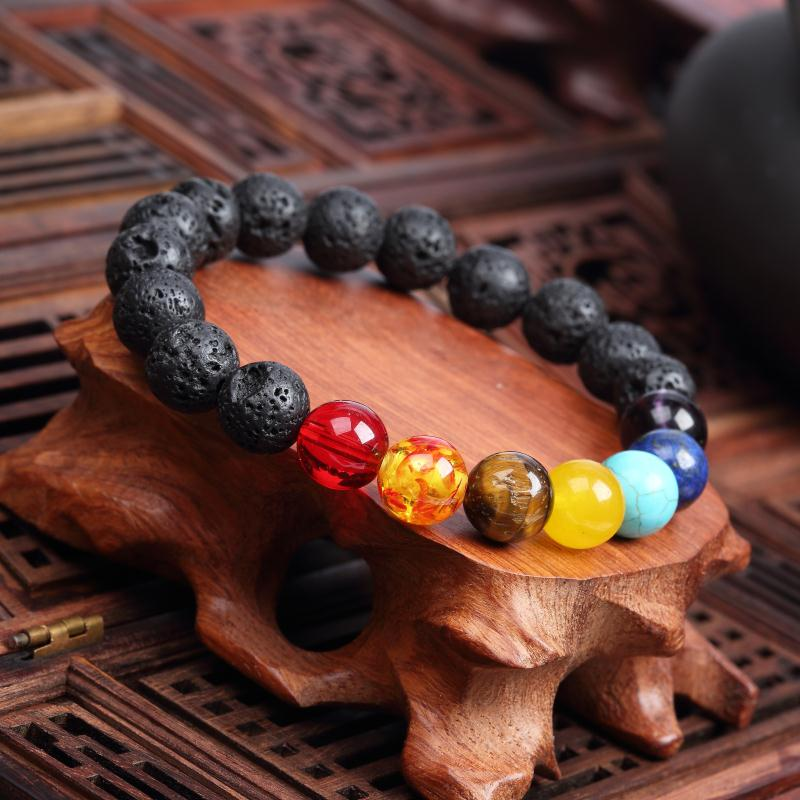 Meajoe трендовый натуральный камень любовь фиолетовый браслет из бисера Винтаж Шарм круглая цепь бисер браслеты ювелирные изделия для женщин друг подарок - Окраска металла: model 5