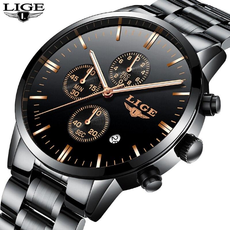 LIGE Fashion Mens Watches Top Brand Luxury Business Waterproof Quartz Clock Full Steel Watch Sport Wrist Watch Relogio Masculino цена