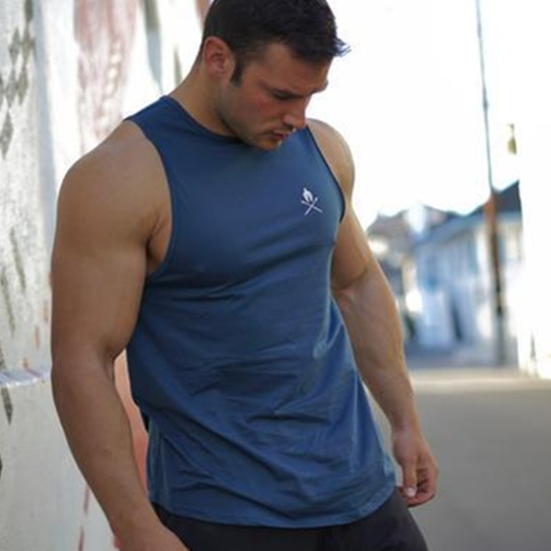 2018 Mens Gyms   Tank     Tops   Cotton Sleeveless   top     tank   Fitness Workout Bodybuilding Brand Clothing Male Casual Sling Vest