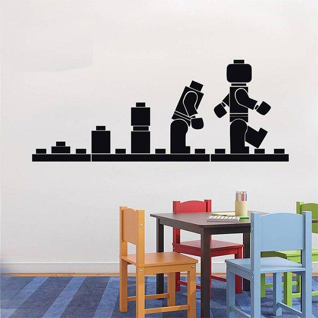 LEGO EVOLUTION Aufkleber WANDAUFKLEBER Lego Wandkunst Vinyl Schablone  Kinderzimmer Cartoon Dekorative Aufkleber Marke Zitat DIY Wohnkultur