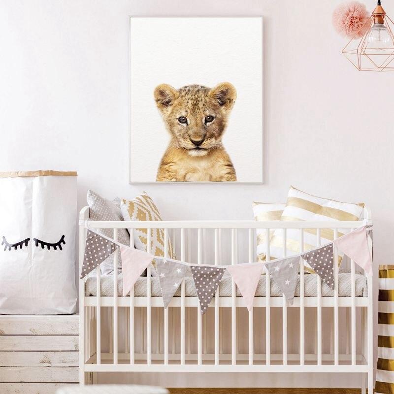 HTB15tH7XL5TBuNjSspmq6yDRVXaS Lion Zebra Elephant Giraffe Baby Animals Art Print Poster, Safari Animals Picture Canvas Painting Kids Room Nursery Wall Decor