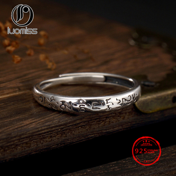9a413620c350 Buda 100% Real S925 plata tailandesa seis palabras Mantra anillos para las  mujeres joyería ajustable tamaño