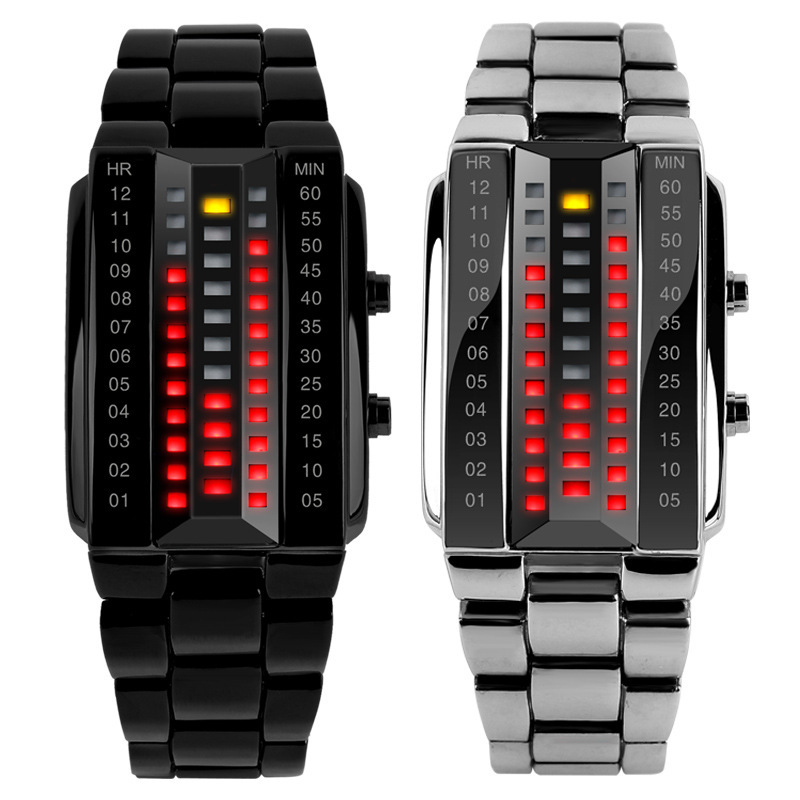 Luxury Lovers' Wristwatch Waterproof Stainless Steel Red Luminous LED Electronic Display Sport Watches Relogio Feminino Smile