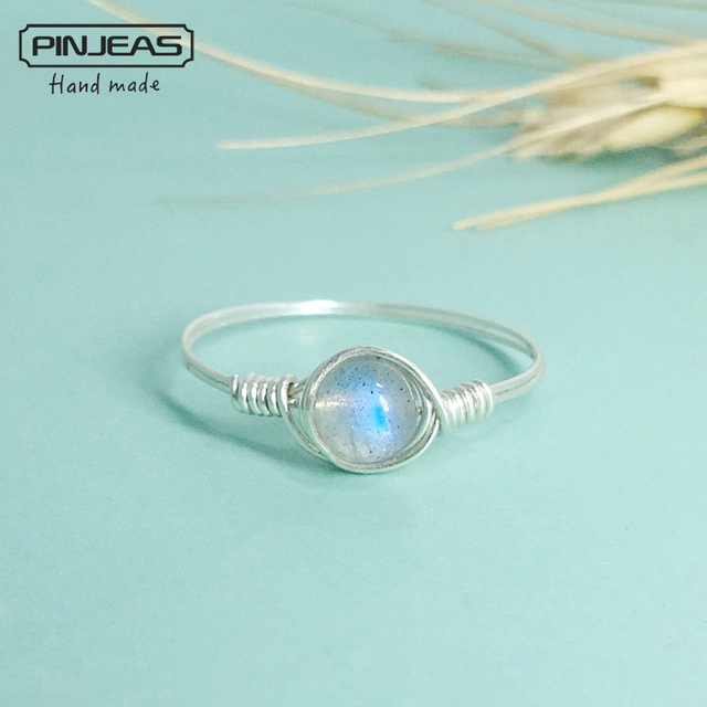 PINJEAS Natural Moonstone Handmade Exquisite minimalis stackable promise Rings f