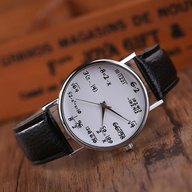 Hot Selling Women Mens Watches Unisex Students Math Formula Clock Leather Band Stainless Steel Dial Quartz Wrist Watch Oct27 1