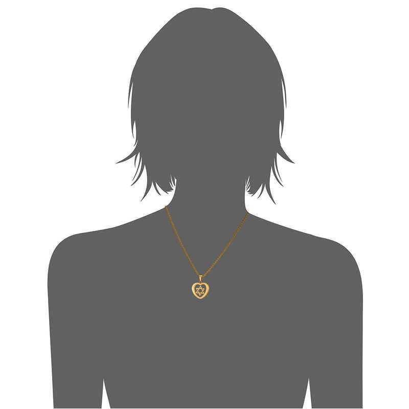 Еврейские ювелирные изделия Маген Звезда Давида Кулон Сердце Цепочки и ожерелья для Для женщин золото Цвет Нержавеющаясталь Израиль Цепочки и ожерелья gp2257