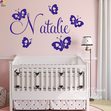 Cartoon Custom Name Butterfly Wall Sticker Baby Nursery Bedroom Personalized Animal Decal Children Room Living