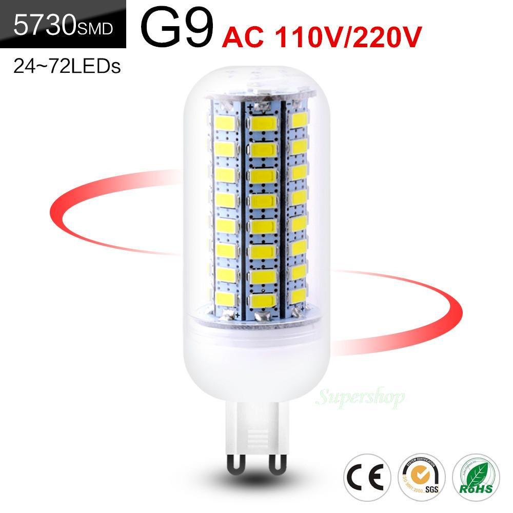 Cheap Bombilla Led Bulb g9 SMD5730 G9 AC 110V 220V 7W 9W 12W 15W 20W 25W LED Corn Bulb Ampoule Bright 24 72LEDs Cool Warm White