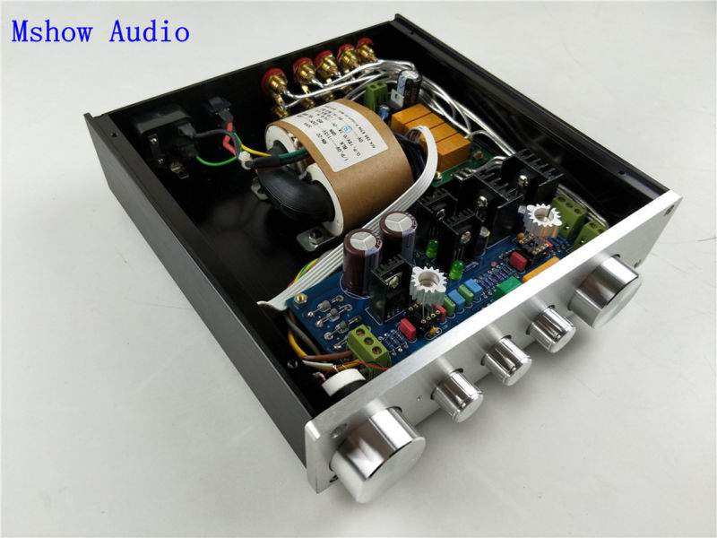 Mshow audio HIFI Class A audio preamplifier preamp amp tone adjustable WITH 4 pairs RCA input Source Selector 4 ways in 1 output
