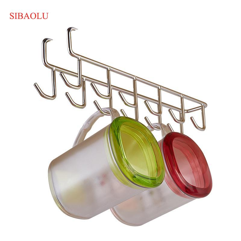 Armario de acero inoxidable hanger cocina herramienta pecho toalla gancho armario colgante Cup drainer Almacenamiento de ropa armario Ganchos