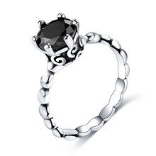 Cuteeco 2019 New Silver Color Finger Ring Pan With Black Cubic Zirconia For Women Fashion Wedding Jewelry Gifts