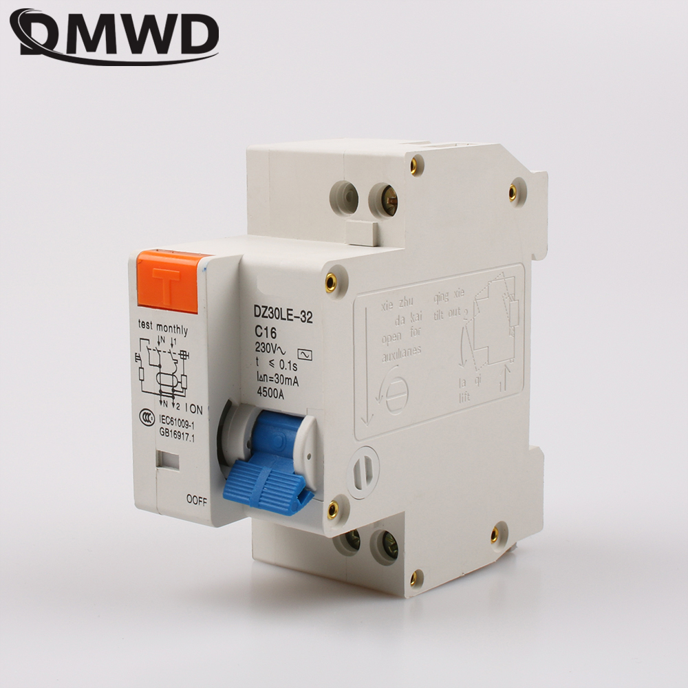 Dz47le Ac 220v Single Pole Elcb Earth Leakage Circuit Breaker Ebay
