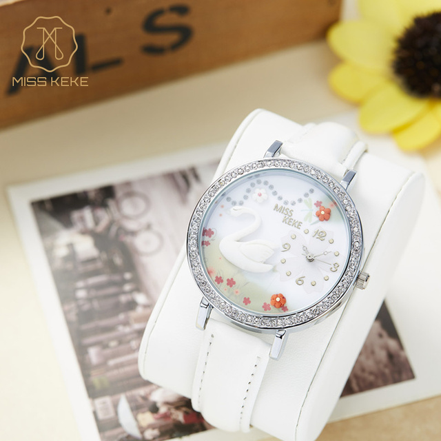 Miss Keke Kids 3D Clay White Swan Cartoon-Watch Diamond Quartz Designer Watches Children Girls Leather Casual Wristwatches 1041