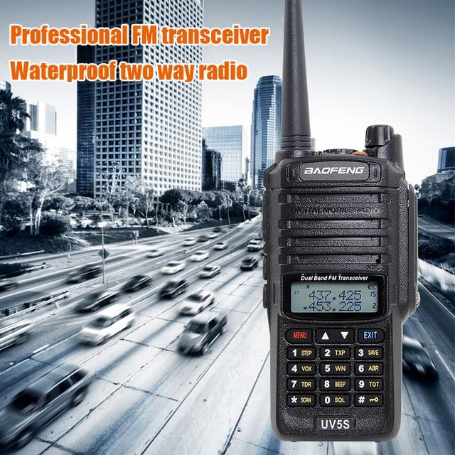 Baofeng UV 5S walkie talkie waterproof dual band UV5S two way radio 136 174MHz, 400 520MHz 10 km radio for hunting