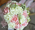 2017 Cheap New Arrival Wedding Bouquet Bridal Bridesmaid Ivory&Pink Artificial Flower Rose Bride Bouquets buque de noiva