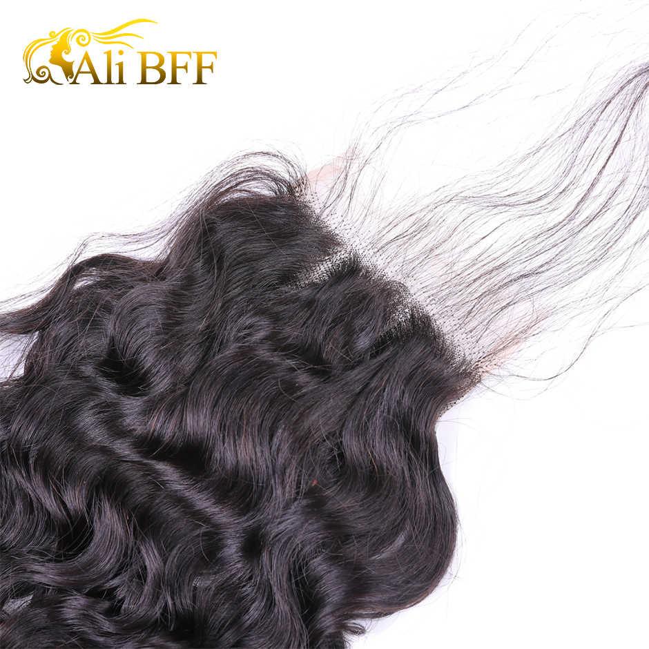 ALI BFF Malezya Su Dalgası 4x4 ''Dantel Kapatma ile Bebek saç 100% İnsan Saç Orta/Ücretsiz /üç Bölüm Kapatma Remy Saç
