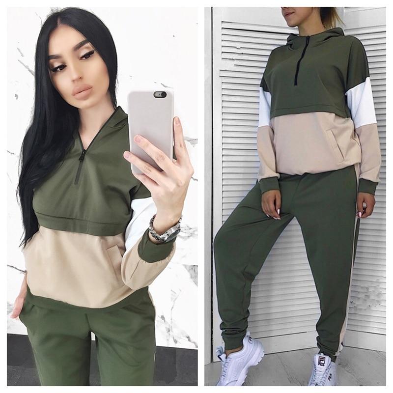 2019 New Women Sport Suit Sport Wear Long Sleeve Gym Clothing Jogging Suits For Women Sport Clothing Patchwork Casual