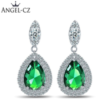 ANGELCZ Elegant Style Wedding Jewelry Delicate Water Drop Green Cubic Zirconia Stones Bridal Hanging Earrings For Brides AE108