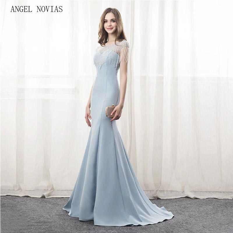 4c043b7049 Angel Novias Long Elegant Light Blue Mermaid Evening Dresses 2018 Beads Crystal  Party Gowns Sleeveless Sweep