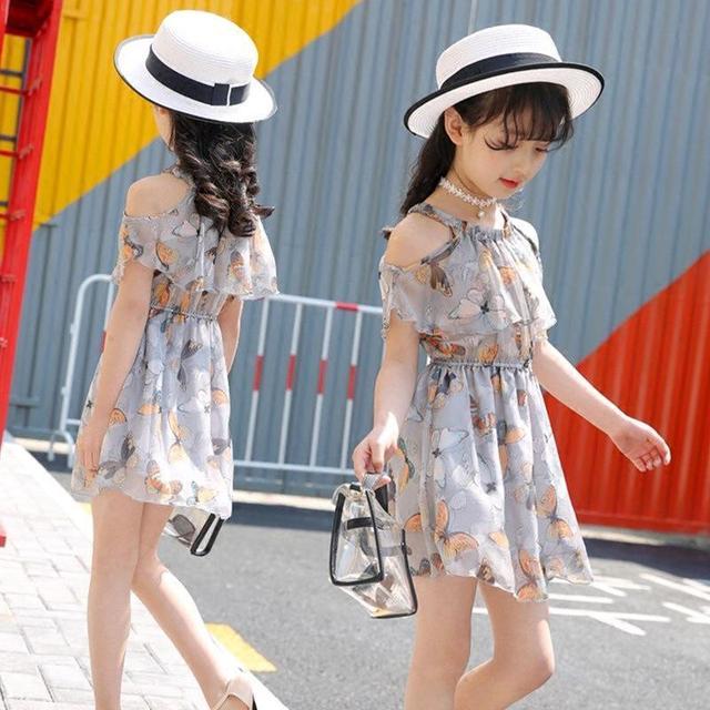 3af3773e1 Niña verano niños Vestidos para Niñas Verano 2017 moda coreano niños ropa  mariposas princesa Niñas vestido