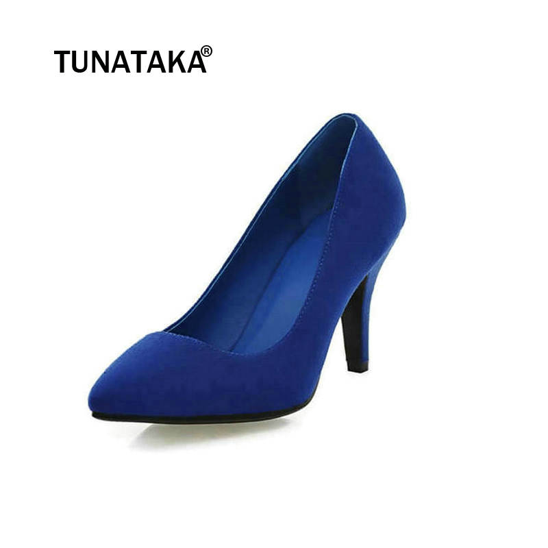 Flock High Heels Pointed Toe Thin Heel Pumps Slip On Lazy Shoes Dress Office Shoes Blue Black Red Green Pink