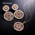 NEWBARK Bohemia Big Round Jewelry Sets Rose Gold Plated Multicolor CZ Diamond Necklaces & Pendants Vintage Statement Earrings