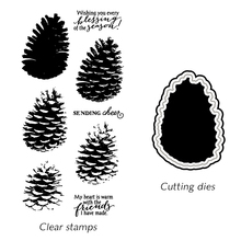 Pine Cones Design Clear Silicon Stamps and Cutting Dies for DIY Scrapbooking/Photo Album Card Making clear stamps with dies kumtel kf 3100 серый