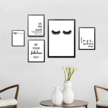 цена Mr Mrs Love Wall Picture For Room Makeup Beauty Eyelash Decorative Painting Print Poster Canvas Painting онлайн в 2017 году