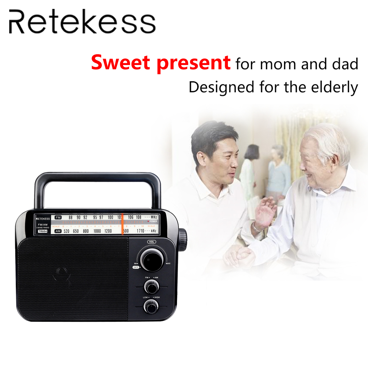 Retekess TR604 FM/AM 2 bande noir 2019new Portable Radio AC alimenté récepteur rechargeable pour les personnes âgées malentendantes