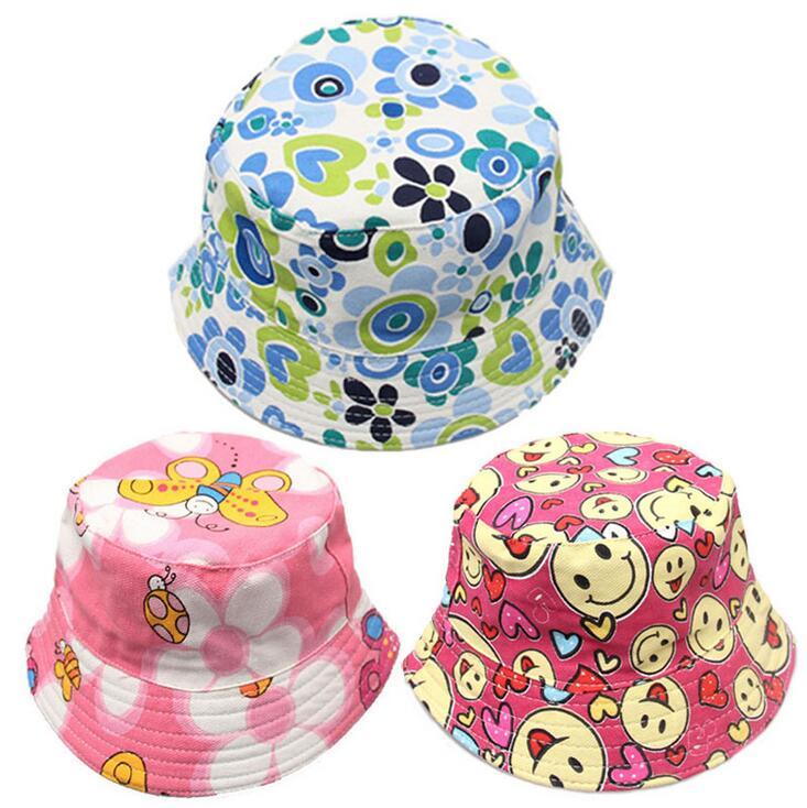 2-6T Baby Cartoon Print Bucket Sun Hat Floral Children Summer Panama Caps Baby Girls Fisherman Straw Hat Kids Boys Topee Cap