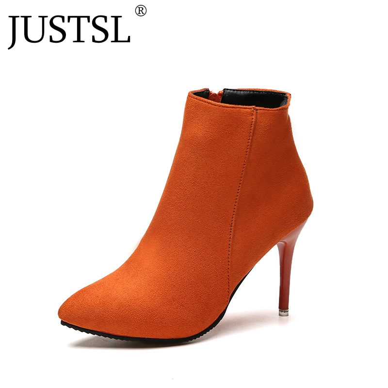 JUSTSL 2018 Winter New Women's Boots Pointed Toe Female shoes Fashion Orange naked Boots 34-39