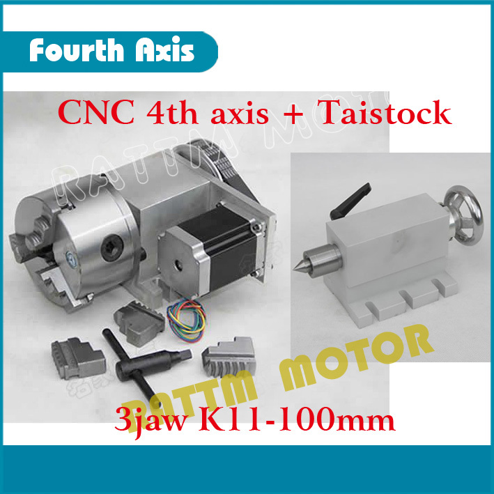 EU Delivery 3Jaw 100mm 4th Axis CNC dividing head Rotation Axis kit Tailstock for Mini CNC