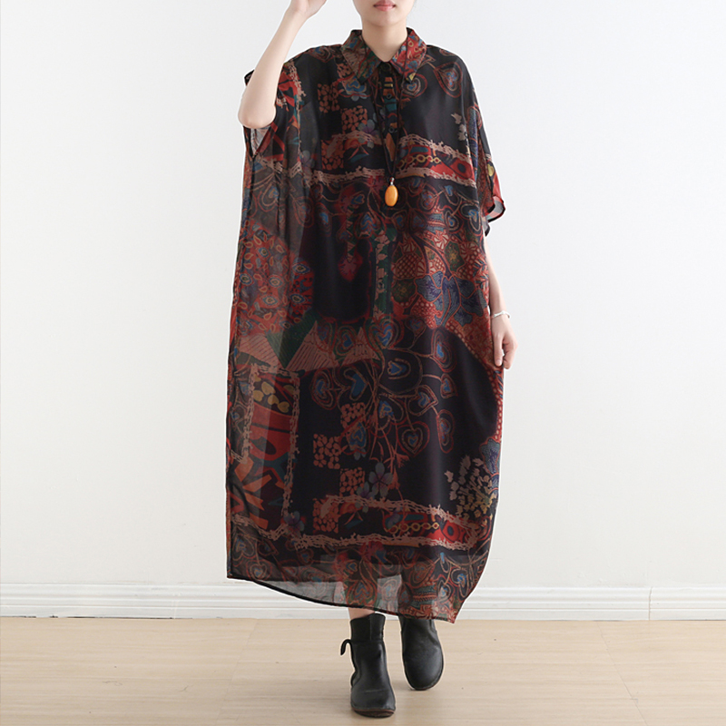 Johnature Vintage Loose Clothes Short Batwing Sleeve Summer Dress Print Button Mid calf Turn down Collar