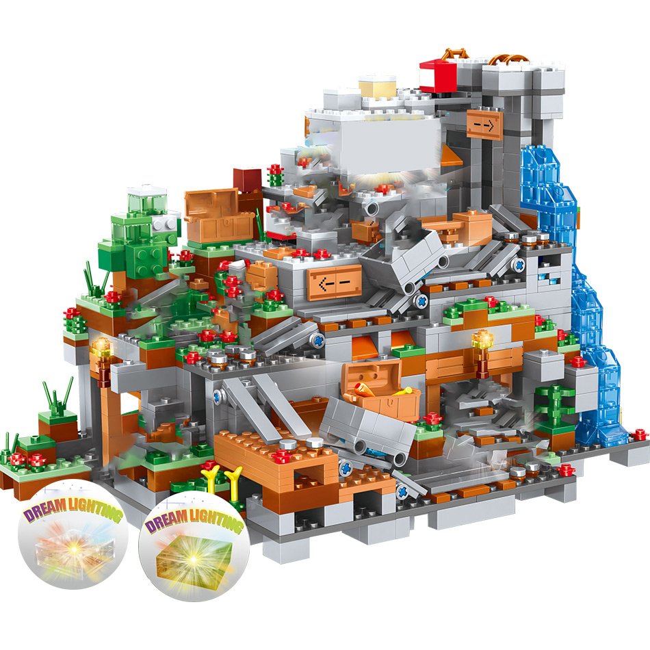 Minecraft Mountain Cave Legoing Minecraft 21137 Figures Model Building Blocks 1315 Piece Bricks Boys Birthday Gift Children Toys 12