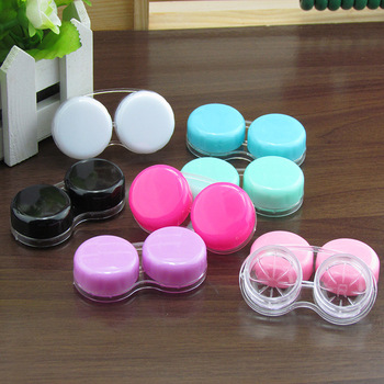 LIUSVENTINA Portable Wholesale Solid Smooth Contact Lens Case for Color Lenses Gift for Girls 100pcs/lot Random Mix Color