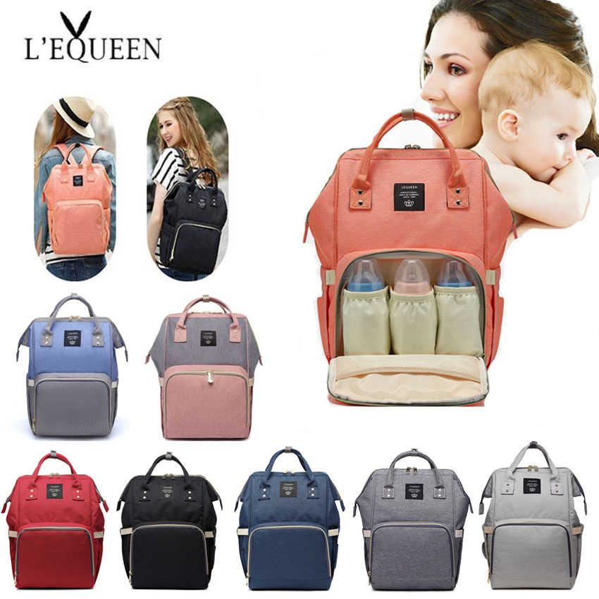 Lequeen moda momia bolsa de pañales de gran capacidad mochila de viaje mochila de enfermería para el cuidado del bebé bolso de moda de las mujeres