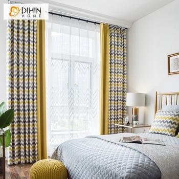 Cortina estampada de rayas de estilo nórdico, cortinas opacas empalmadas, cortinas de ventana personalizadas para sala de estar
