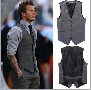 2015  Men's fashion business suit vests / Male leisure suit vests / David Beckham The same style Leisure suit vest
