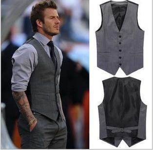2015 hombres de moda juego de negocio chalecos / juego del ocio hombre chalecos / David Beckham el mismo estilo del juego del ocio