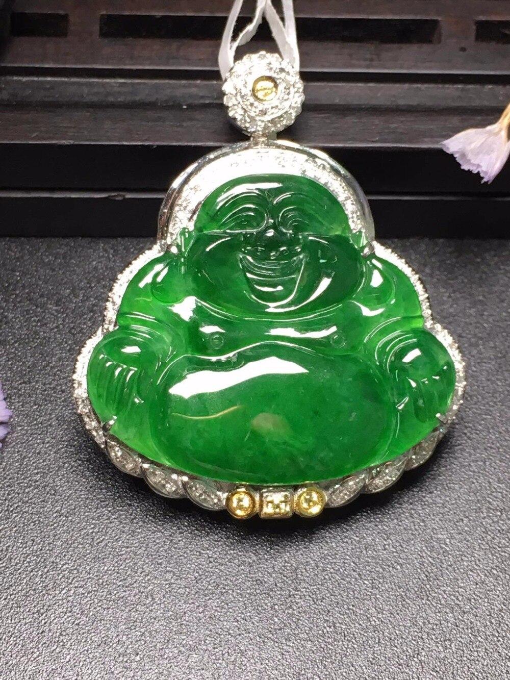 Настоящие хорошие драгоценности 18 К белого золота станции Будда натуральный бурмес нефрита драгоценные камни жадит кулон цепочки и ожерел