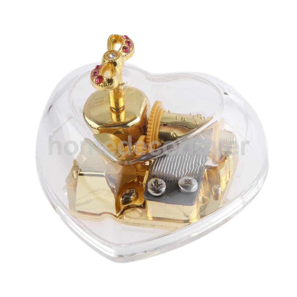 Acrylic Heart Bowknot Clockwork Music Box Melody Play Box Kids Christmas Gift
