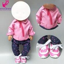 d01831f9df Puppe kleidung für 43 cm geboren Baby puppe leder kleidung Rosa puppe mantel  für 17 inch baby puppe jacke winter spielzeug kleid.