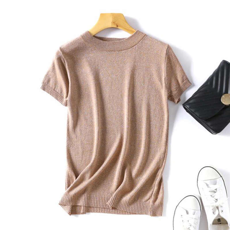 4844b101b8a 2019 Shiny Lurex Summer knitted Slim Pullover Women O-Neck Sweater Shirt  Female All-