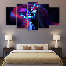5 Pieces KDA Akali Canvas Painting Game Poster League of Legends Wall Art Printed Pictures Home Decor Modern Animation Artwork