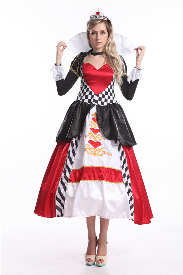 Free Shipping Deluxe Queen Of Hearts Alice in Wonderland Fancy Dress Halloween Costume with petticoat