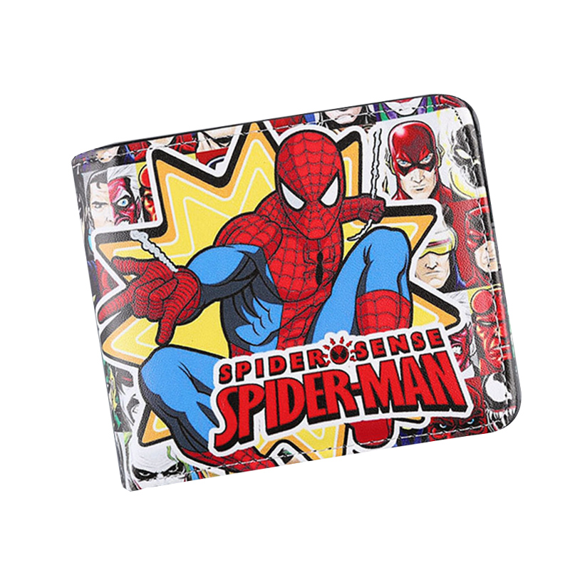Hot Comic Spider Man Red Anime Men Wallets Hot Moive Women Wallets Short Leather Prints Money Pockets Card Holder Coins Purse dc movie hero bat man anime men wallets dollar price short feminino coin purse money photo balsos card holder for boy girl gift