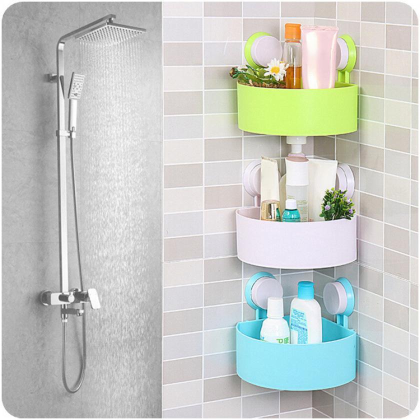Bathroom Shelves Plastic Suction Cup Bathroom Kitchen Corner Storage Rack Organizer Shower Shelf 717 Levert Dropship