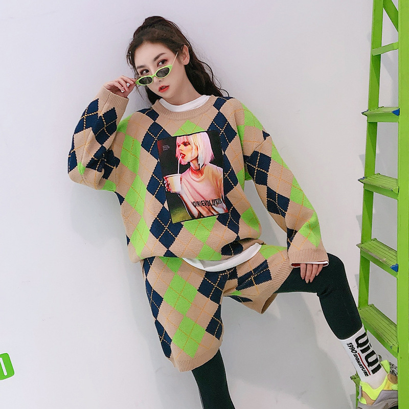 Spring New Thai Street Fashion Characters Hot Painting Rhombic  Matching Long-sleeved Shirt Shorts Sweater Suit Casual Loose