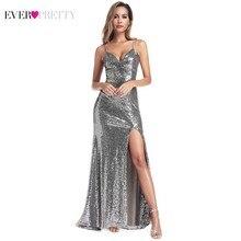 Ever Pretty Sexy Prom Dresses Long Side Split V-Neck Spaghetti Straps Elegant Grey Little Mermaid Abiye Gece Elbisesi